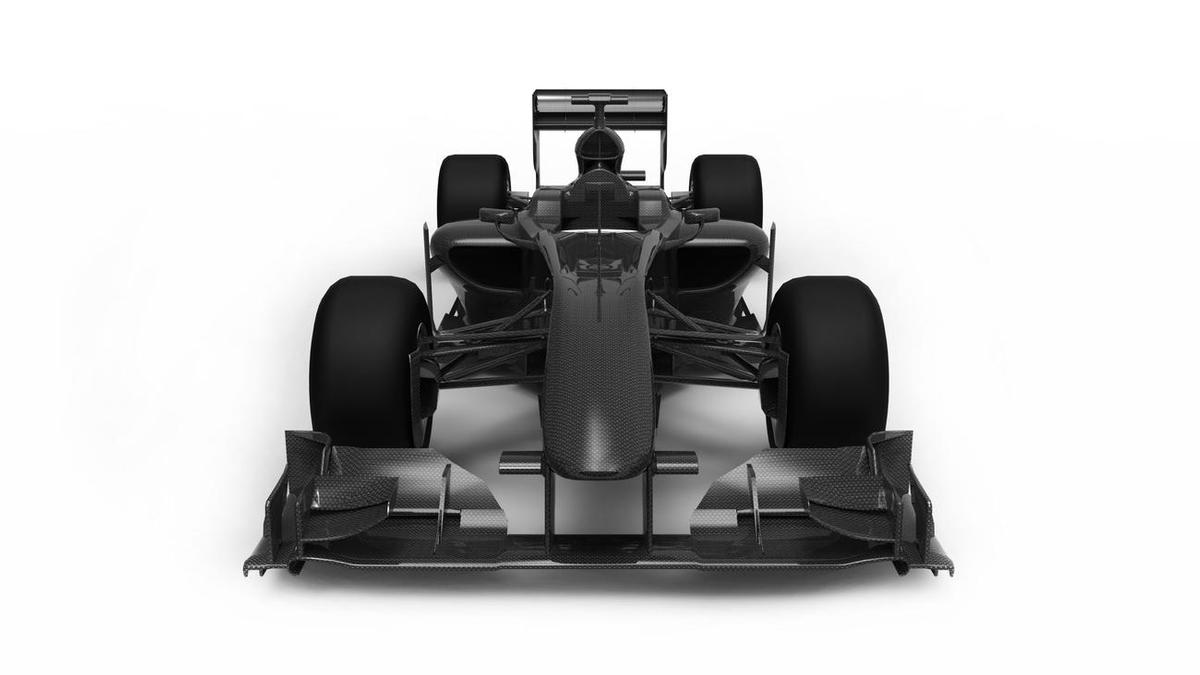 Racing car made from carbon fibre components